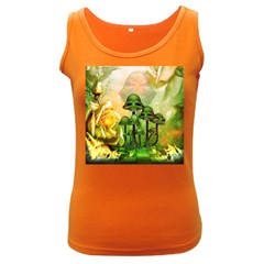 Awesome Funny Mushroom Skulls With Roses And Fire Women s Dark Tank Top by FantasyWorld7