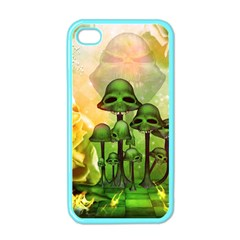 Awesome Funny Mushroom Skulls With Roses And Fire Apple Iphone 4 Case (color)