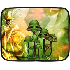 Awesome Funny Mushroom Skulls With Roses And Fire Double Sided Fleece Blanket (mini)