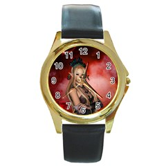 Wonderful Mythical Fairy Round Gold Metal Watch