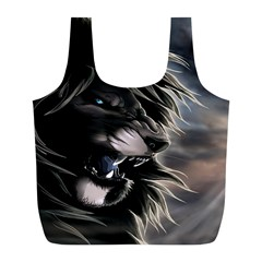 Angry Lion Digital Art Hd Full Print Recycle Bag (l)