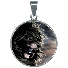 Angry Lion Digital Art Hd 30mm Round Necklace