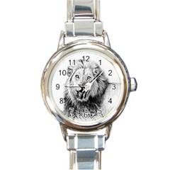 Lion Wildlife Art And Illustration Pencil Round Italian Charm Watch