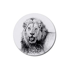 Lion Wildlife Art And Illustration Pencil Rubber Coaster (round)