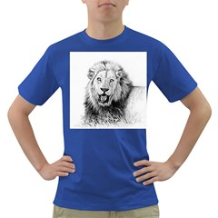 Lion Wildlife Art And Illustration Pencil Dark T-shirt by Sudhe
