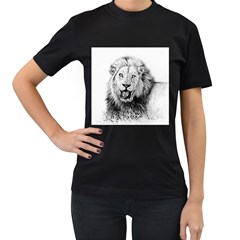 Lion Wildlife Art And Illustration Pencil Women s T-shirt (black)