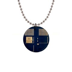Tardis Poster 1  Button Necklace
