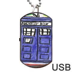 Tardis Painting Dog Tag Usb Flash (two Sides)