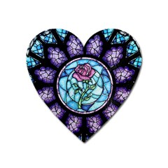 Cathedral Rosette Stained Glass Beauty And The Beast Heart Magnet by Sudhe