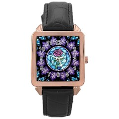 Cathedral Rosette Stained Glass Beauty And The Beast Rose Gold Leather Watch