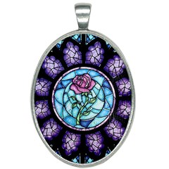 Cathedral Rosette Stained Glass Beauty And The Beast Oval Necklace
