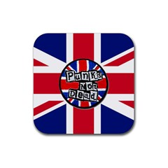 Punk Not Dead Music Rock Uk United Kingdom Flag Rubber Square Coaster (4 Pack)