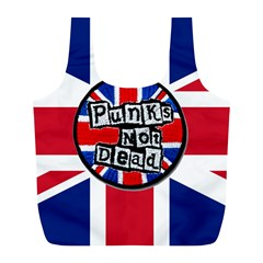 Punk Not Dead Music Rock Uk United Kingdom Flag Full Print Recycle Bag (l)