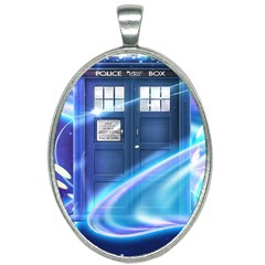 Tardis Space Oval Necklace