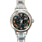 Book Quote Collage Round Italian Charm Watch Front