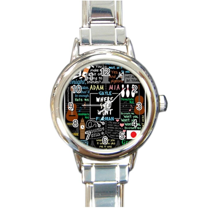 Book Quote Collage Round Italian Charm Watch