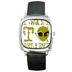 I Want To Believe Square Metal Watch