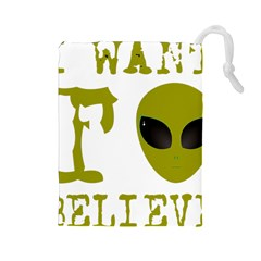 I Want To Believe Drawstring Pouch (large)