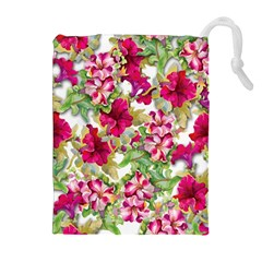 Red Flowers Drawstring Pouch (xl)
