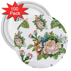 Summer Flowers Pattern 3  Buttons (100 Pack)  by goljakoff
