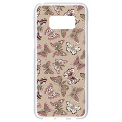 Rose Butterflies Pattern Samsung Galaxy S8 White Seamless Case