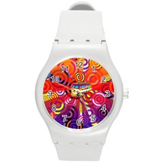 Boho Hippie Bus Round Plastic Sport Watch (m)