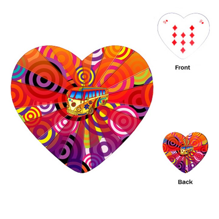 Boho Hippie Bus Playing Cards (Heart)