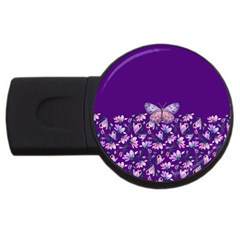 Purple Spring Butterfly Usb Flash Drive Round (4 Gb)