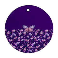 Purple Spring Butterfly Round Ornament (two Sides) by lucia