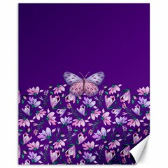 Purple Spring Butterfly Canvas 11  X 14