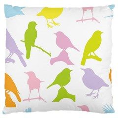 Bird Watching   Colorful Pastel Large Flano Cushion Case (two Sides) by WensdaiAddamns