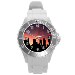 Skyline Panoramic City Architecture Round Plastic Sport Watch (l)