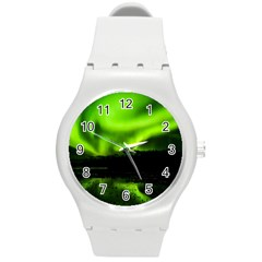 Aurora Borealis Northern Lights Sky Round Plastic Sport Watch (m)