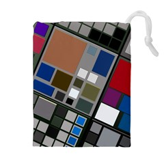 Abstract Composition Drawstring Pouch (xl)