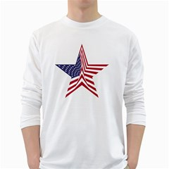 A Star With An American Flag Pattern Long Sleeve T Shirt