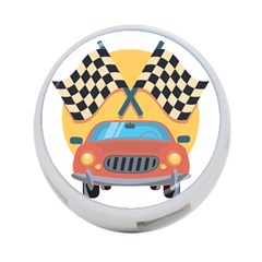 Automobile Car Checkered Drive 4-port Usb Hub (two Sides)