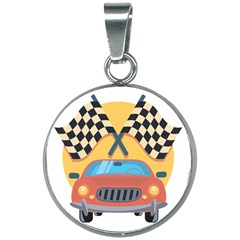 Automobile Car Checkered Drive 20mm Round Necklace