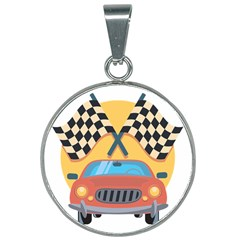 Automobile Car Checkered Drive 25mm Round Necklace by Sudhe