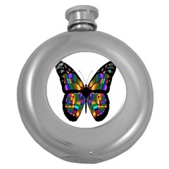 Abstract Animal Art Butterfly Round Hip Flask (5 Oz)