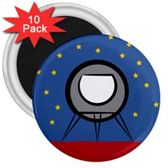 A Rocket Ship Sits On A Red Planet With Gold Stars In The Background 3  Magnets (10 Pack)