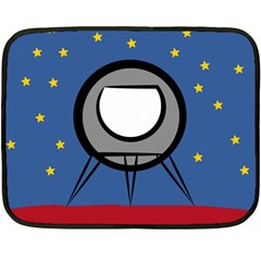 A Rocket Ship Sits On A Red Planet With Gold Stars In The Background Double Sided Fleece Blanket (mini)