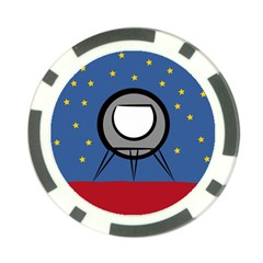 A Rocket Ship Sits On A Red Planet With Gold Stars In The Background Poker Chip Card Guard (10 Pack)