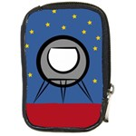 A Rocket Ship Sits On A Red Planet With Gold Stars In The Background Compact Camera Leather Case Front