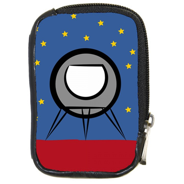 A Rocket Ship Sits On A Red Planet With Gold Stars In The Background Compact Camera Leather Case
