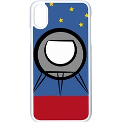 A Rocket Ship Sits On A Red Planet With Gold Stars In The Background Iphone Xs Seamless Case (white)