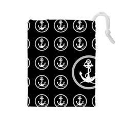 Anchor Pattern Drawstring Pouch (large)