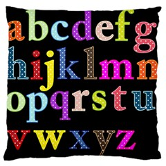 Alphabet Letters Colorful Polka Dots Letters In Lower Case Large Flano Cushion Case (one Side)