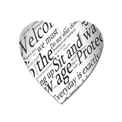 Abstract Minimalistic Text Typography Grayscale Focused Into Newspaper Heart Magnet by Sudhe