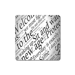 Abstract Minimalistic Text Typography Grayscale Focused Into Newspaper Square Magnet by Sudhe