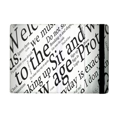 Abstract Minimalistic Text Typography Grayscale Focused Into Newspaper Apple Ipad Mini Flip Case by Sudhe
